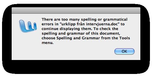 Word error