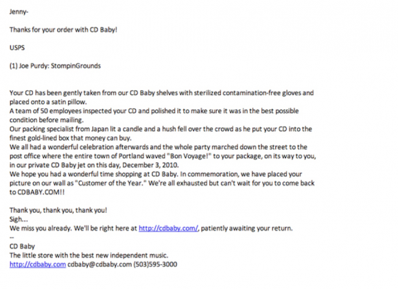 Letter from CD Baby