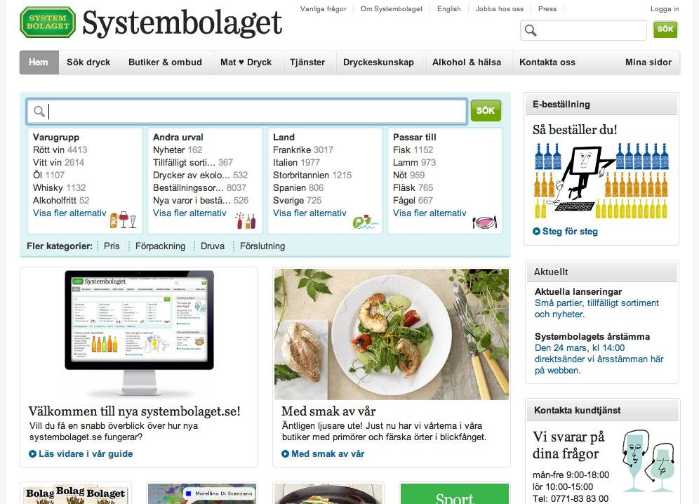 Gamla startsidan på systembolaget.se