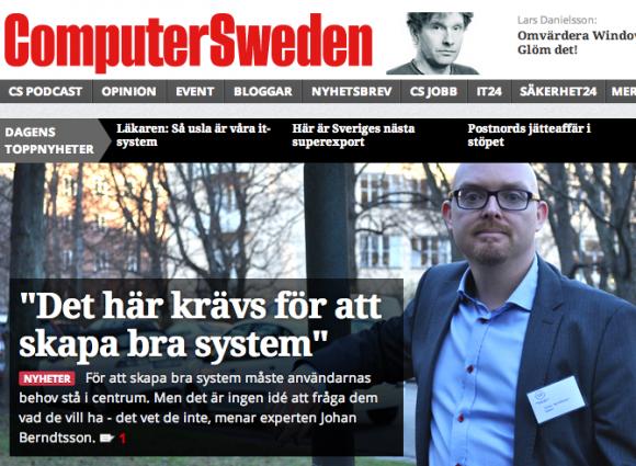 Johan Berndtsson (inUse) i Computer Sweden 2013-11-29