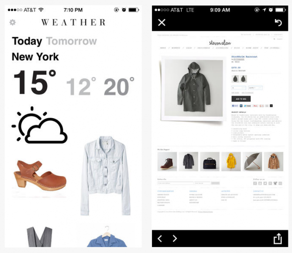 appen weather visar modetips anpassat till dagens väder