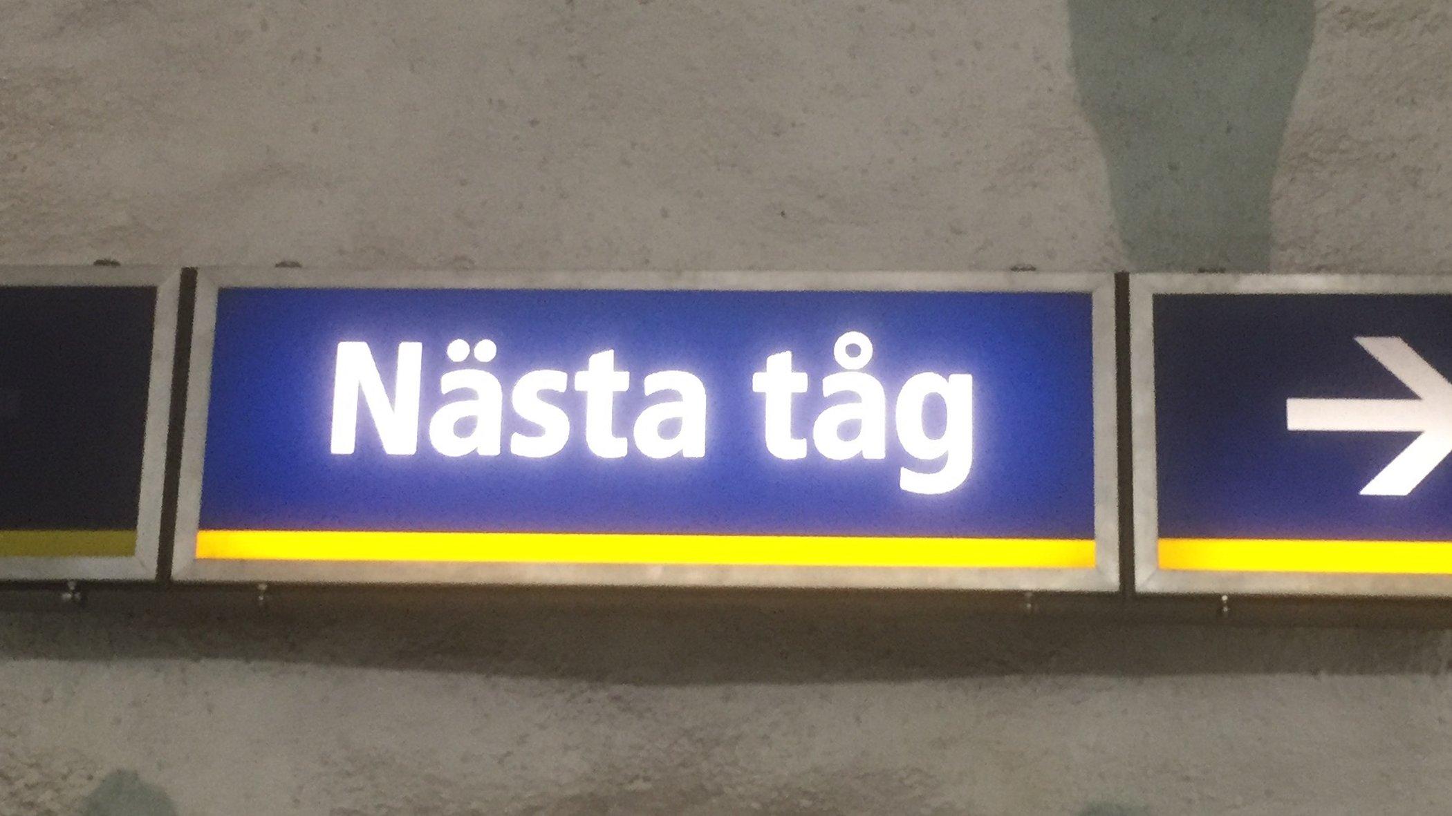 Nästa tåg-skylt i Stockholms T-bana