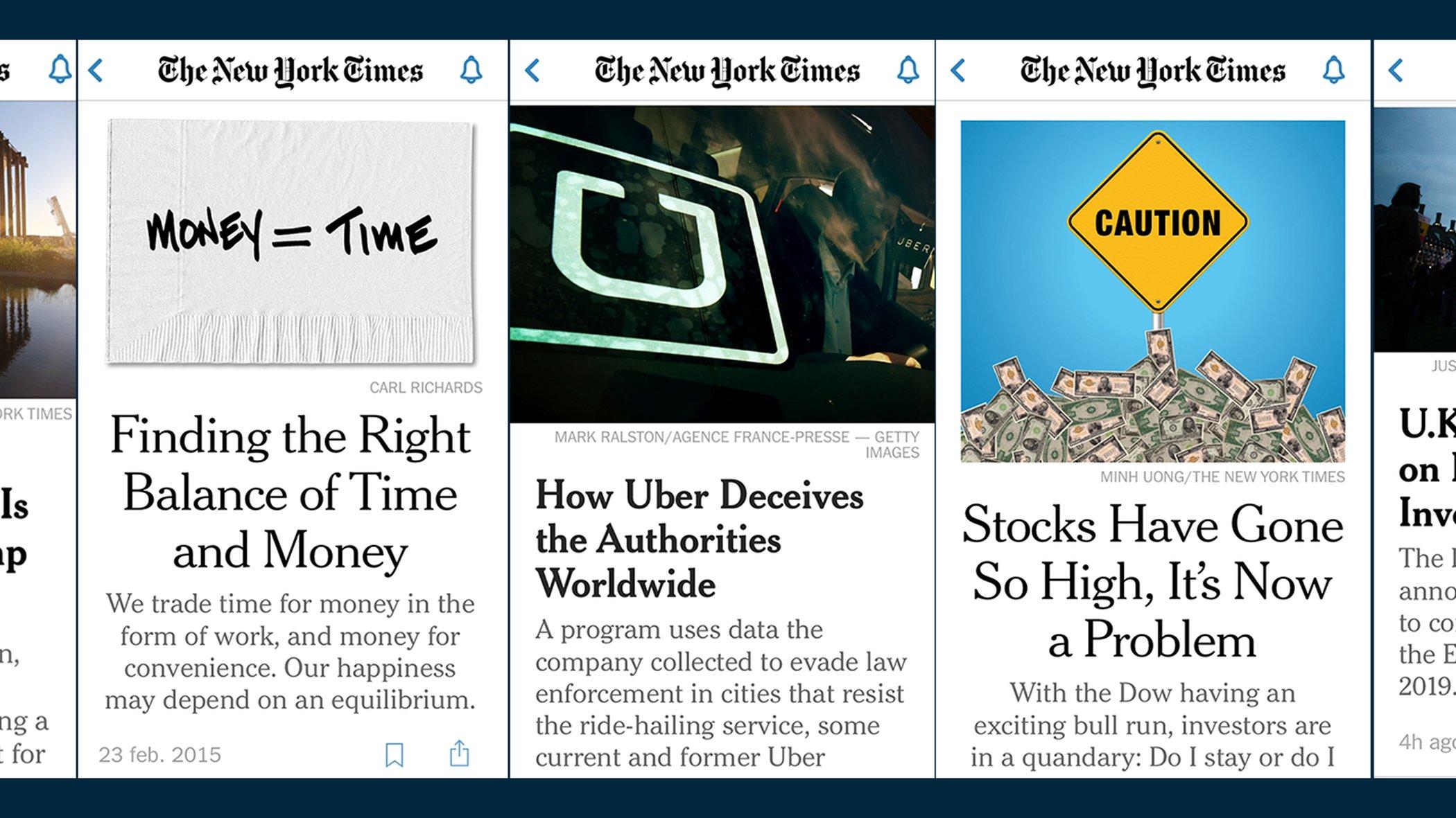 bilder från NY Times förstasida - löpsedel på mobilen
