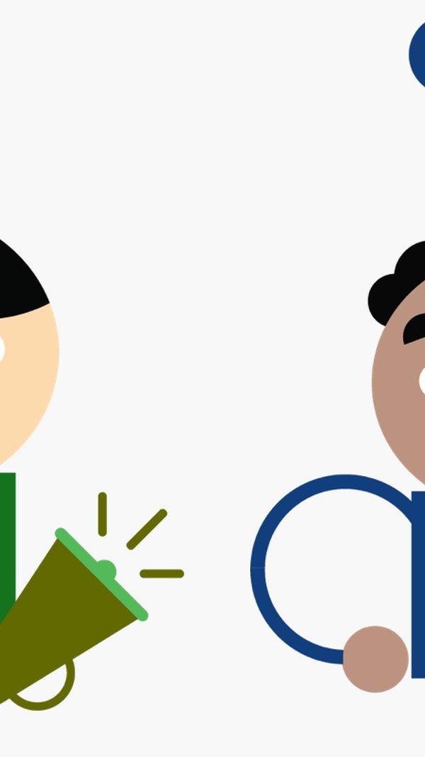 Illustrationer av en kock och en person med megafon.