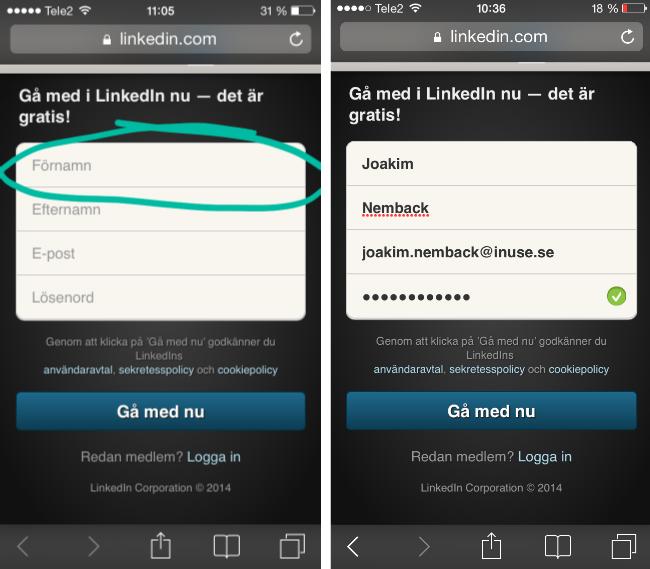 Formulär i mobil applikation där två skärmbilder visar ledtext i inmatningsfält, steg för steg.
