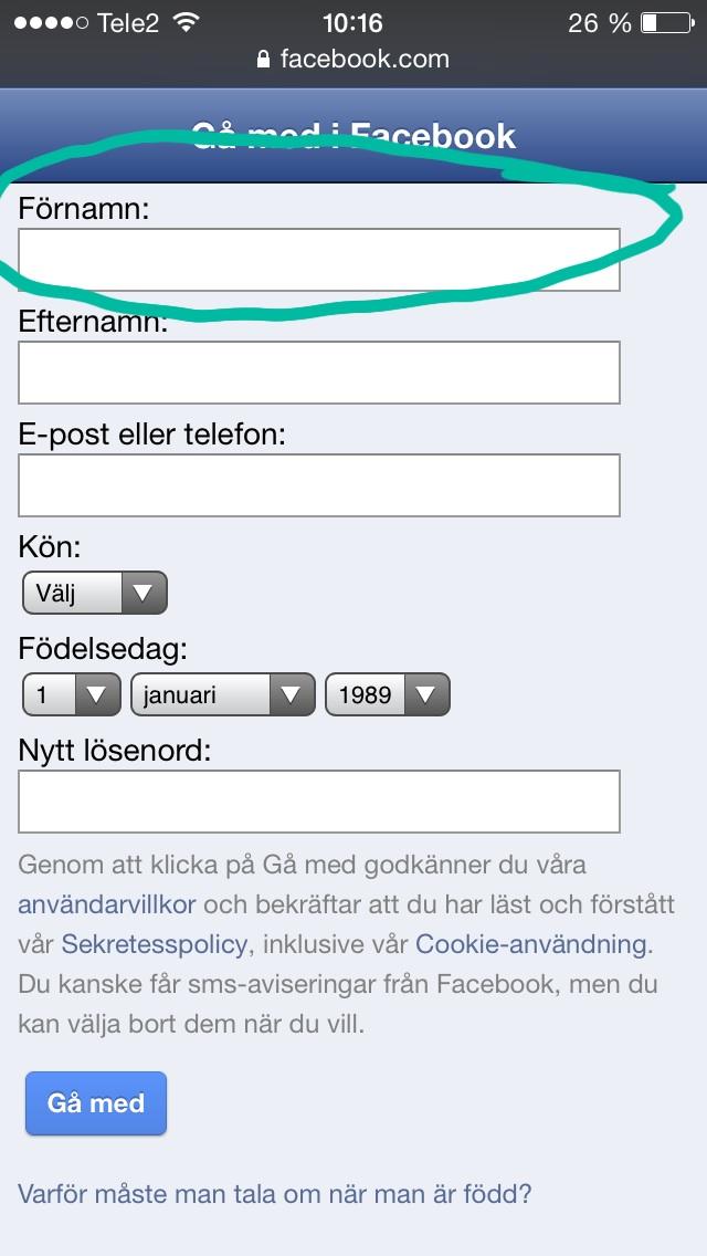 Formulär i mobilen där ledtexten är placerad ovanför inmatningsfältet.