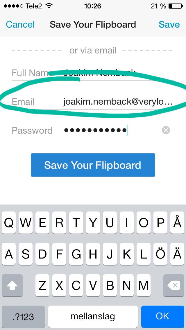 Formulär i mobilen där ledtexten står till vänster.