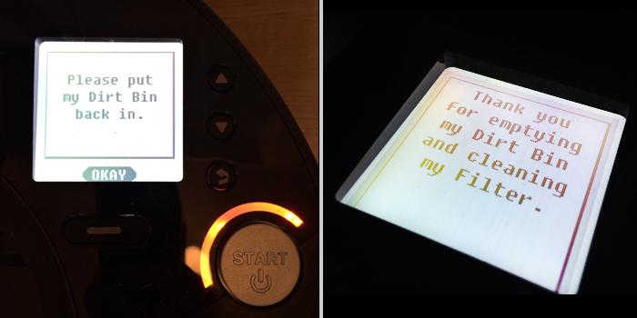 texten please put me down visas på en robotammsugares skärm