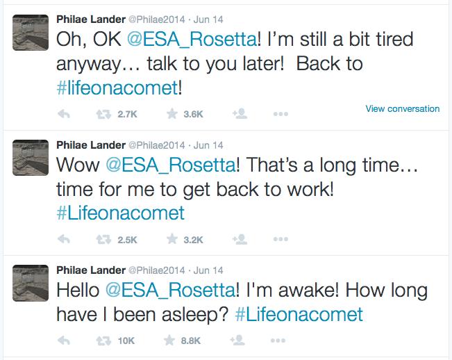 kometlandare Philaes tweet till jorden - i'm awake