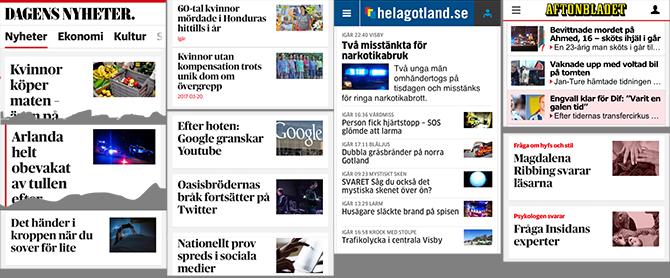 Exempel på extremt små bilder på svenska nyhetssajter