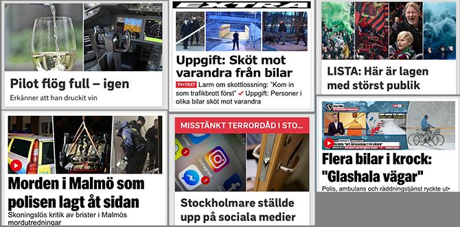 Exempel på sammansatta bilder på svenska nyhetssajter